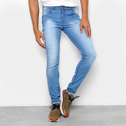 Calça Jeans Skinny Coffee Estonada Cintura Média Delave Masculina