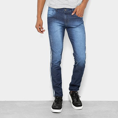 Calça Jeans Skinny Coffee Estonada Puídos Listras Laterais Masculina