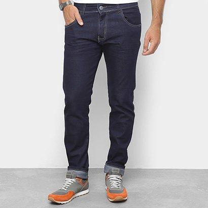 Calça Jeans Slim Coffee Lavagem Clássica Cintura Média Masculina