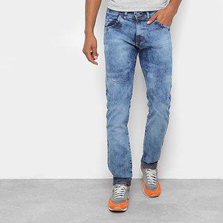 6f4bfe619 Calça Jeans Skinny Coffee Marmorizada Cintura Média Masculina
