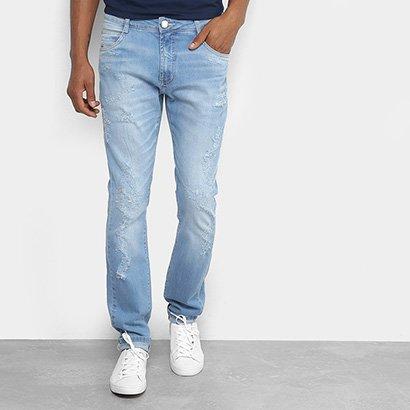 Calça Jeans Skinny Dimy com Puídos Masculina