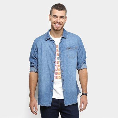 b291d8759f Camisa Jeans Manga Longa Redley Bolso Masculina