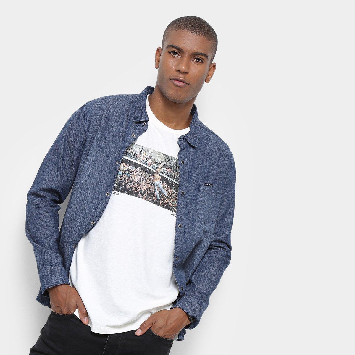 2291b4079a Camisa Jeans Redley Manga Longa Ziguezague Masculina