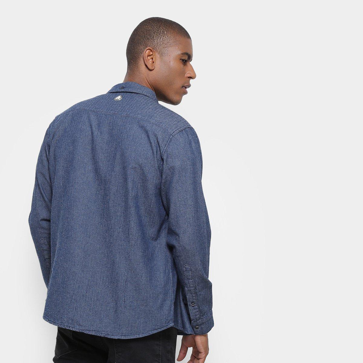 Foto 2 - Camisa Jeans Redley Manga Longa Ziguezague Masculina