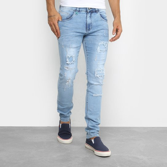 1d4fe0810 Calça Jeans Skinny Rock & Soda Delave Rasgados Masculina - Azul Claro