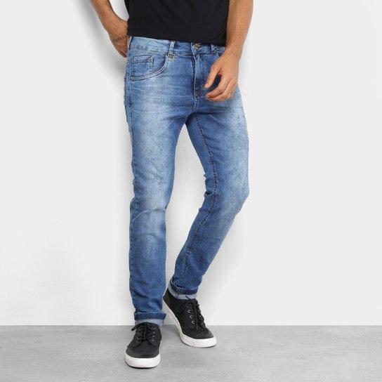 Calça Jeans Skinny Rock   Soda Estonada Puídos Cintura Média Masculina -  Azul 8bf3b51e53744