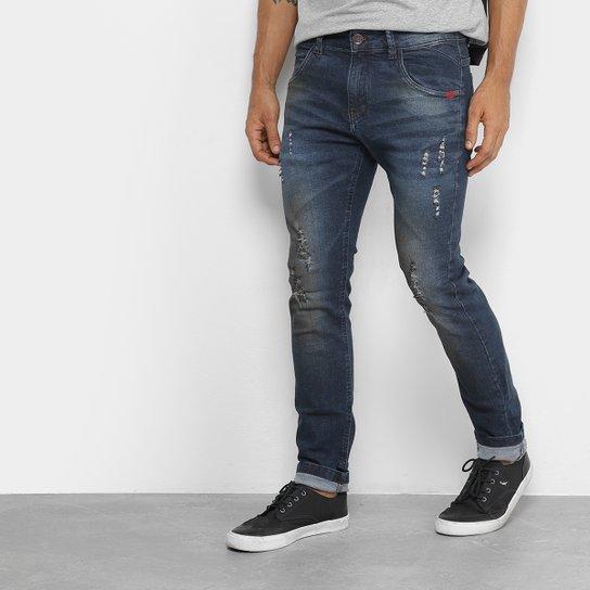 8540bd669 Calça Jeans Skinny Rock & Soda Estonada Rasgos Cintura Alta Masculina - Azul