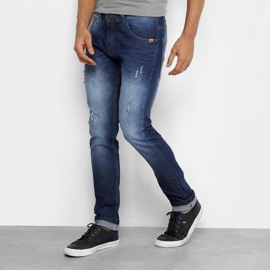 Calça Jeans Skinny Rock   Soda Estonada Puídos Masculina - Azul ... e8fcd30a44341