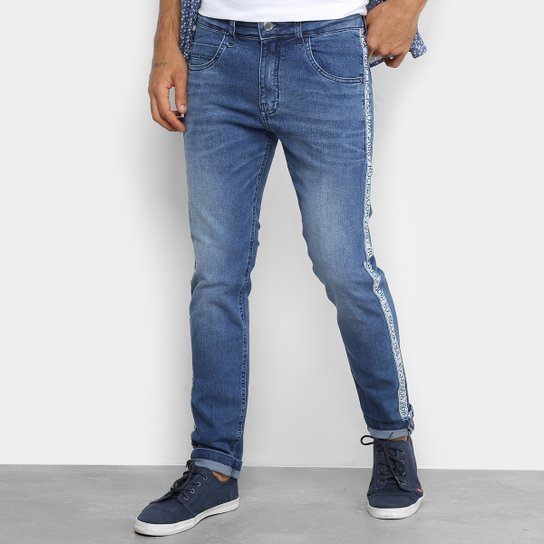 Calça Jeans Skinny Rock   Soda Estonada Faixa Lateral Masculina - Azul 332f741b113f2