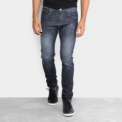 Calça Jeans Skinny Rock Blue Elastano Lavagem Média Masculina