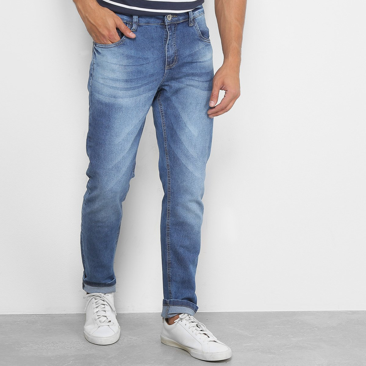 e7452f1ee Calça Jeans Slim RockBlue Estonada Masculina