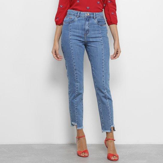 d9b3c4f00 Calça Jeans Skinny Lez a Lez Vincos Assimétrica Barra Desfiada Cintura Alta  Feminina - Azul