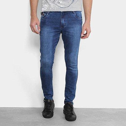 Calça Jeans Skinny Gangster Marmorizada Elastano Masculina