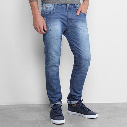 Calça Jeans Skinny Gangster Estonada Puídos Elastano Cintura Média Masculino
