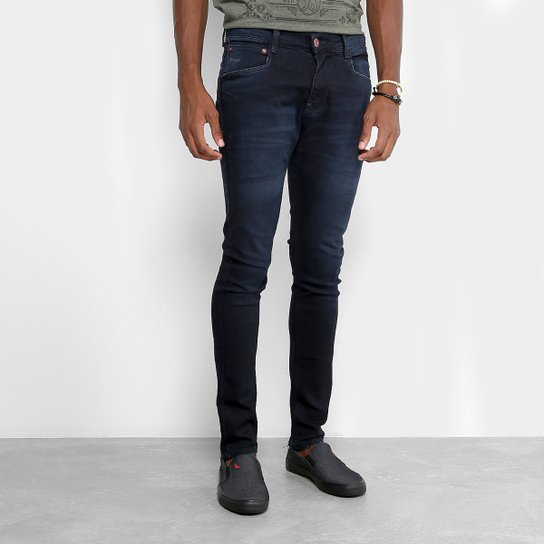 a6296d4674 Calça Jeans Skinny Gangster Estonada Masculina - Azul Escuro ...