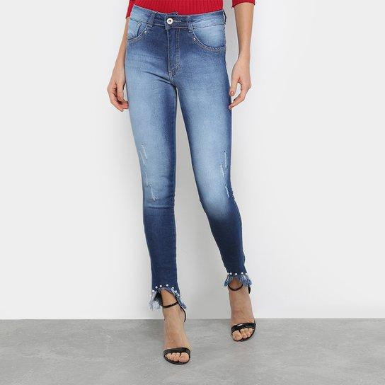 622935757 Calça Jeans Skinny Biotipo Barra Desfiada Cintura Média Feminina - Azul ...