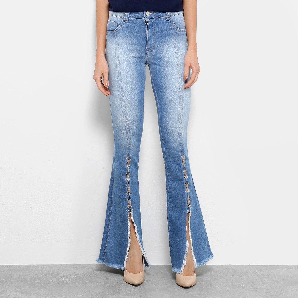 825c95d0e5 Calça Jeans Flare Biotipo Barra Desfiada Cintura Média Feminina