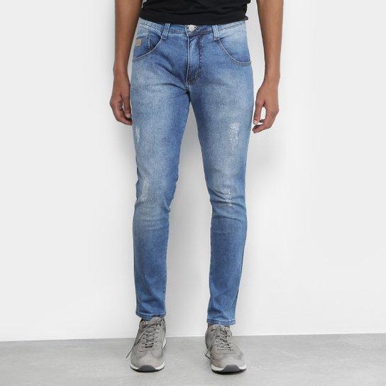 598f9fe2c Calça Jeans Skinny Biotipo Cut Estonada Cropped Cintura Alta Masculina -  Azul