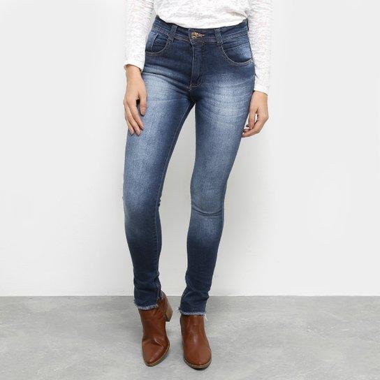 4b602f57f Calça Jeans Skinny Biotipo Barra Zíper Cintura Média Feminina - Azul Escuro