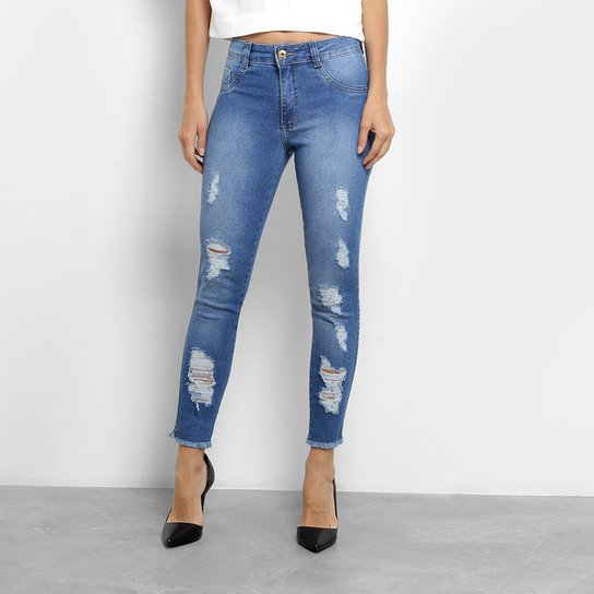 28efc271b Calça Jeans Skinny Biotipo Cintura Média Feminina - Azul | Netshoes