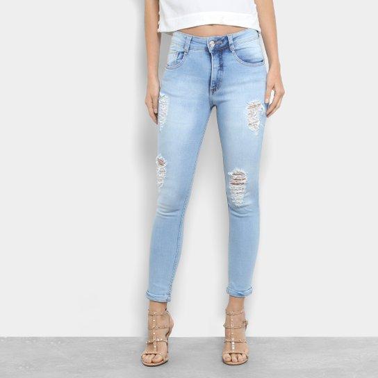 1e7b8d90b Calça Jeans Skinny Biotipo Cintura Média Feminina - Azul Claro