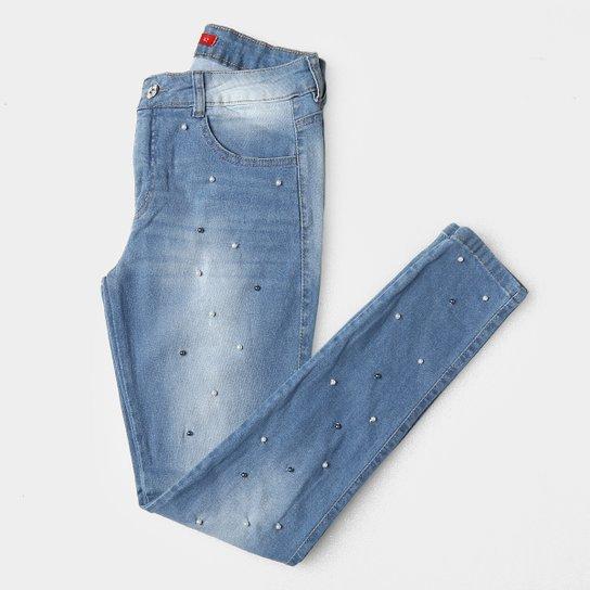 05f600072 Calça Jeans Skinny Biotipo Cintura Média Pérolas Feminina - Azul Claro