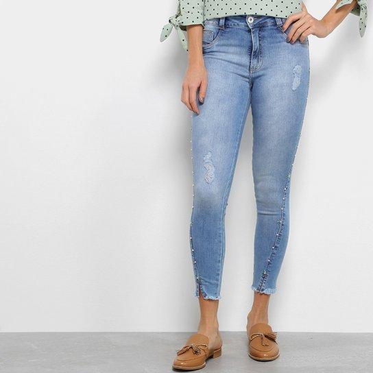19f6f0246 Calça Jeans Biotipo Feminino Skinny Midi Pedras Recorte Feminina - Jeans