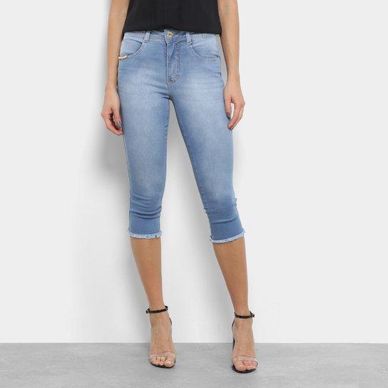 b71ac6a4a4 Calças Jeans Skinny Biotipo Rasgos Cintura Média Feminina - Azul Claro