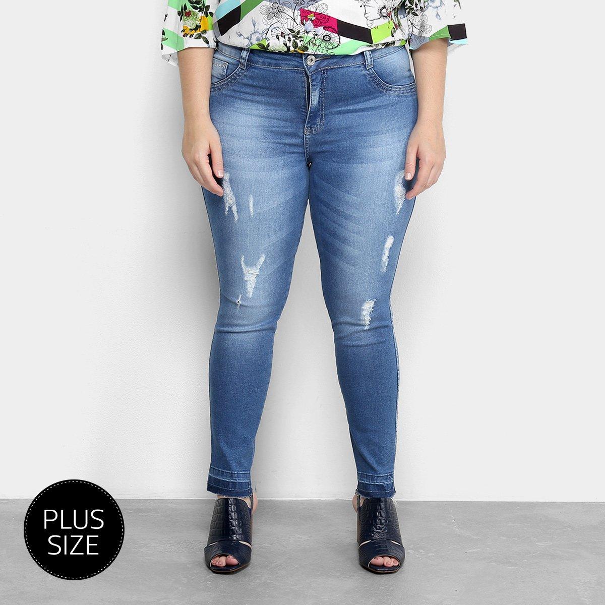 2bcc8959f Calça Jeans Skinny Biotipo Estonada Cintura Média Plus Size Feminina