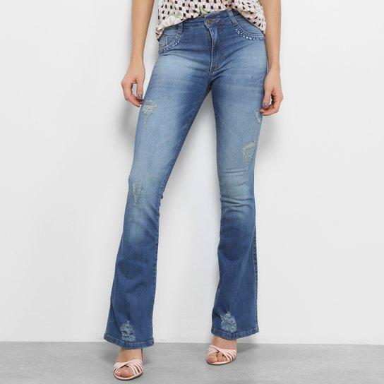 19a496e81 Calças Jeans Flare Biotipo Pedras Cintura Média Feminina - Compre ...