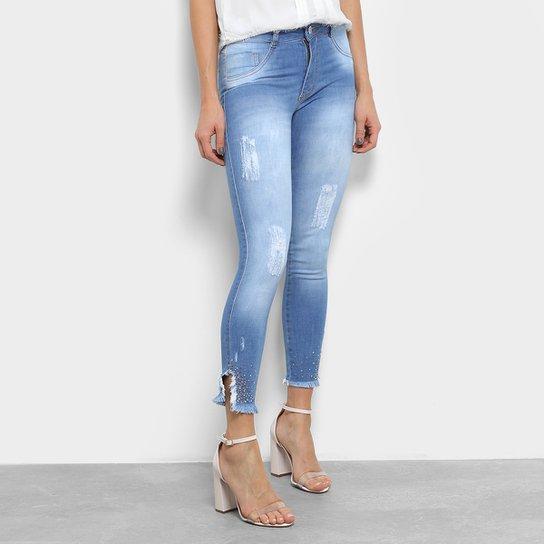 a17c107f76f Calça Jeans Biotipo Skinny Strass Barra Desfiada Feminina - Compre ...