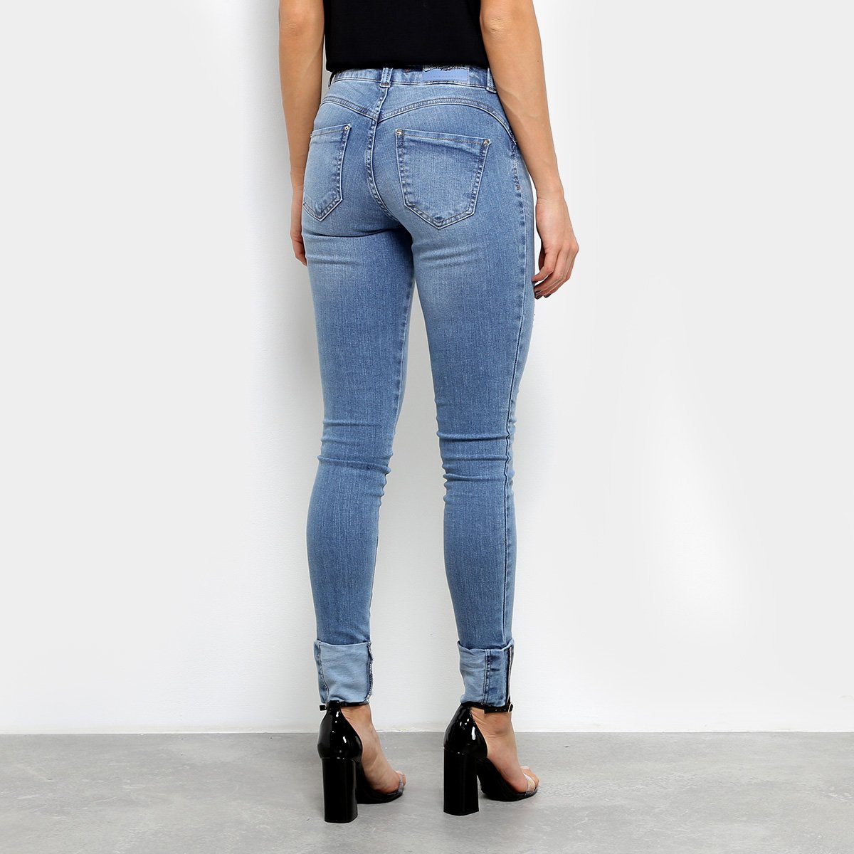 144172300 Calça Jeans Skinny Biotipo Barra Dobrada Cintura Média Feminina ...