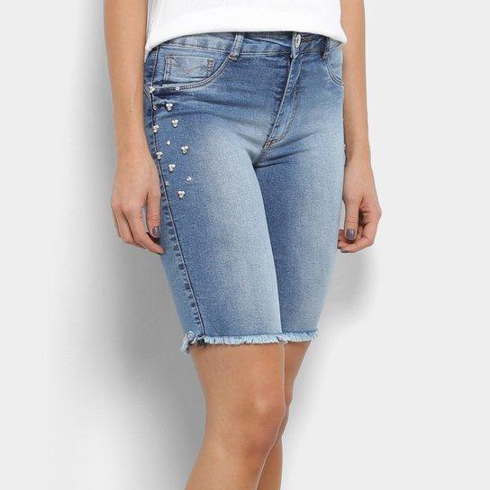 a94989a34 Bermuda Jeans Biotipo Cintura Média Pérolas Feminina   Netshoes