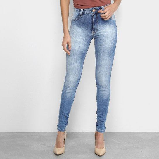 bd2a0921b Calças Jeans Skinny Biotipo Marmorizada Cintura Alta Feminina - Azul ...
