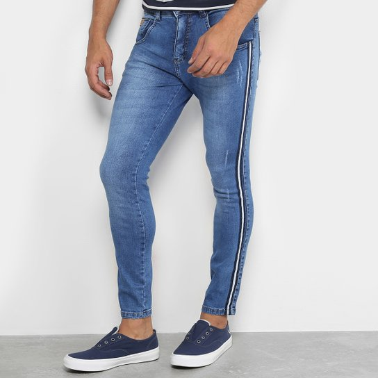 f40a4a28c Calça Jeans Skinny Biotipo Faixa Lateral Masculina - Azul   Netshoes