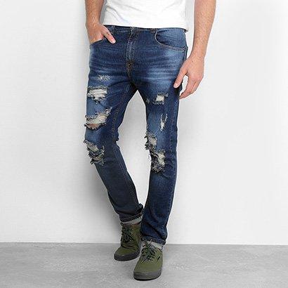 Calça Jeans Slim Handbook Estonada Destroyed Masculina
