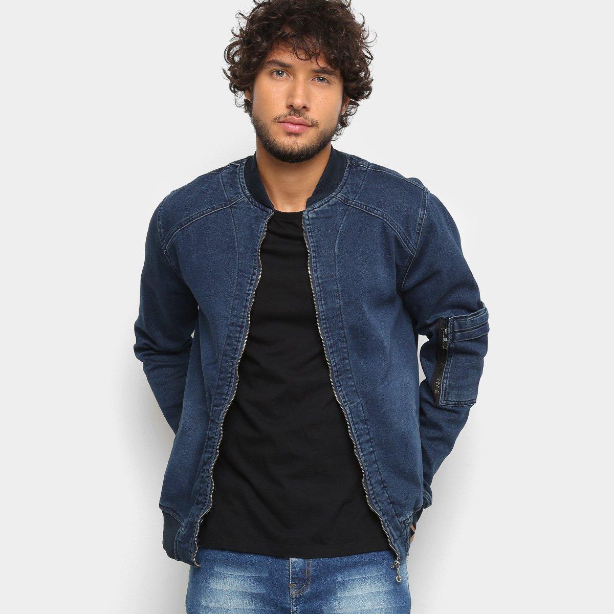 Foto 1 - Jaqueta Bomber Jeans Zune Recortes Masculina