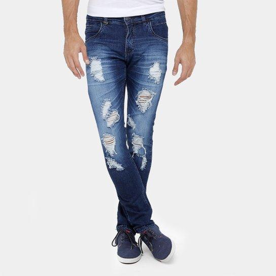 1e5a0baaf2d7e6 Calça Jeans Skinny Zune Estonada Rasgos Masculina - Jeans