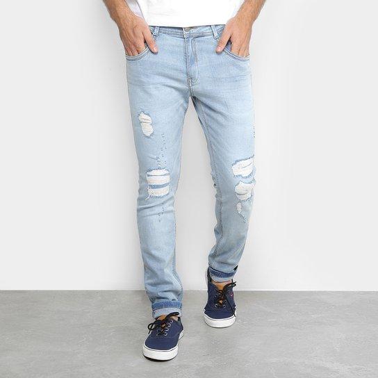 71cff3e3 Calça Jeans Skinny Delave Rasgados Pespontos Masculina - Azul Claro