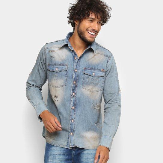 21a7ef3ab8 Camisa Jeans Zune Manga Longa Estonada Puídos Feminina - Azul Claro ...