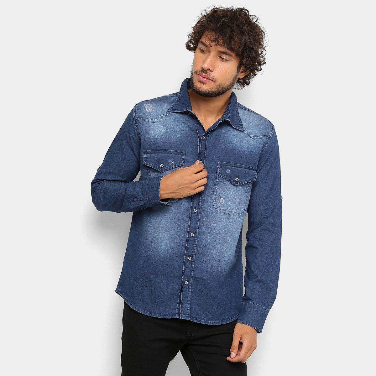 003fd2b00 Camisa Jeans Zune Manga Longa Masculina