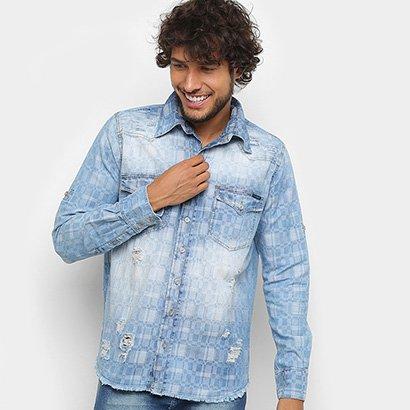 Camisa Manga Longa Jeans Zune Estampada Estonada Masculina