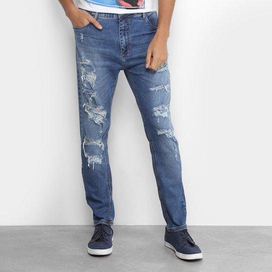 2b0591e41 Calça Jeans Slim Coca-Cola New Carrot Destroyed Cintura Média Masculina -  Azul