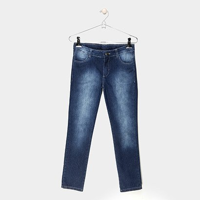 Calça Jeans Reta Infantil Cativa Estonada Poá Cintura Média Feminina