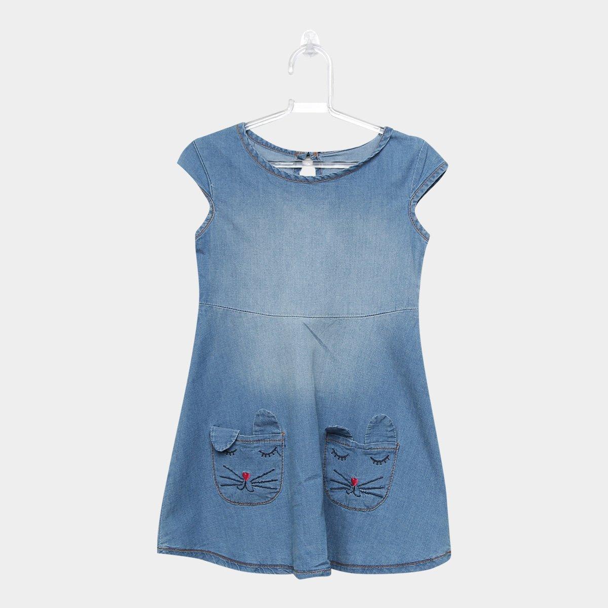 aebc798bb Vestido Jeans Infantil Cativa Bordado Gatinho Feminino