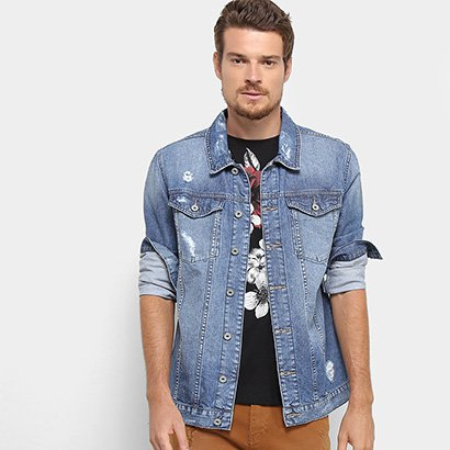 Jaqueta Jeans Acostamento Destroyed Masculina