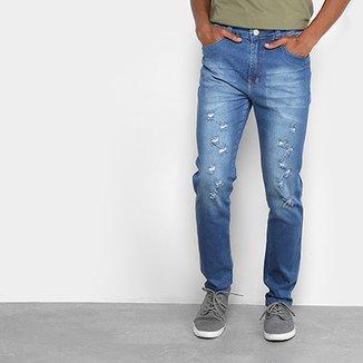 Calça Jeans Slim Oxmo Estonada Rasgos Masculina 75ca2819601