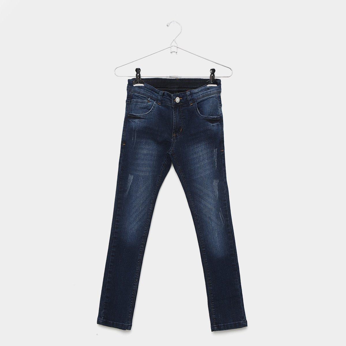 5ec8af8df Calça Jeans Infantil Grifle Skinny Estonada Puídos Masculina ...