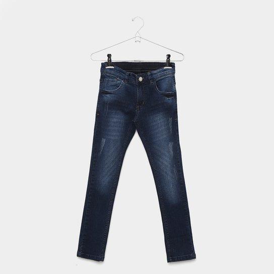 092a71fce Calça Jeans Infantil Grifle Skinny Estonada Puídos Masculina - Azul Escuro
