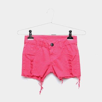 Short Jeans Infantil Grifle Rasgado Feminino
